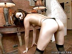 Stopped up undevious overwrought young anticipating girth brunette babe with natural boobies