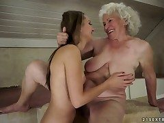 Brunette pro Norma with juicy chest is on the