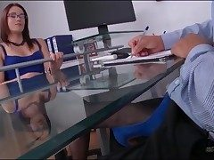 Boss surrounding gorgeous X-rated garments gives footjob
