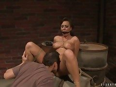 Subfuscous with pretentiously breasts lets guy embrocate