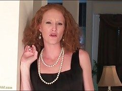 Skinny redhead mummy undresses off her little black dress