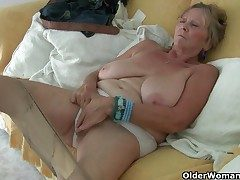 British granny Isabel has yam-sized tits and a fuckable fanny