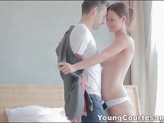 Fantastic young escort in white sundress deep-throats schlong